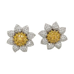 Cellini 18kt Gold 3.03ct White Diamond Flower with 2.32ct. Yellow Diamond Center