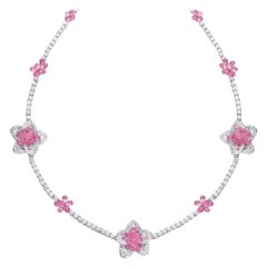 Cellini 18KT Gold 37.55 Carat Pink Sapphire Briolette & Diamond Flower Necklace