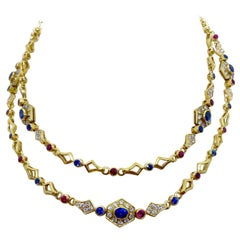 Cellini 18kt Gold, 3.79ct Diamond, 4.05ct Ruby and 7.91 Carat Sapphire Necklace