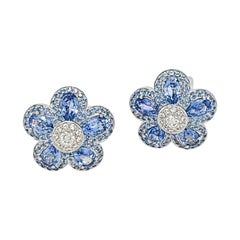 Cellini 18KT Gold 6.25 Carat Blue Sapphire and .50 Carat Diamond Flower Earrings