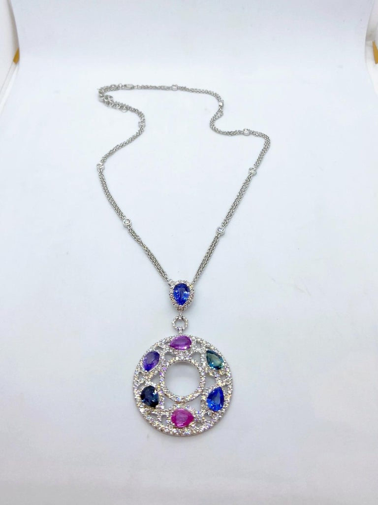 Modern Cellini 18 Karat Gold & Diamond Pendant with Pear Shaped Multicolored Sapphires For Sale
