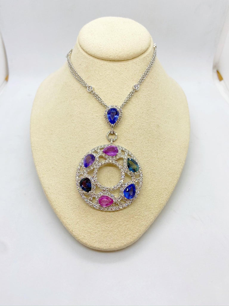 Pear Cut Cellini 18 Karat Gold & Diamond Pendant with Pear Shaped Multicolored Sapphires For Sale