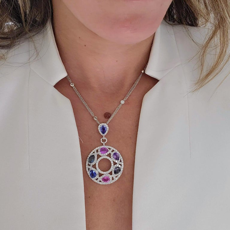 Cellini 18 Karat Gold & Diamond Pendant with Pear Shaped Multicolored Sapphires In Excellent Condition For Sale In New York, NY