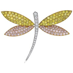 Cellini 18KT Gold Dragonfly Brooch with Natural Pink, Yellow and White Diamonds