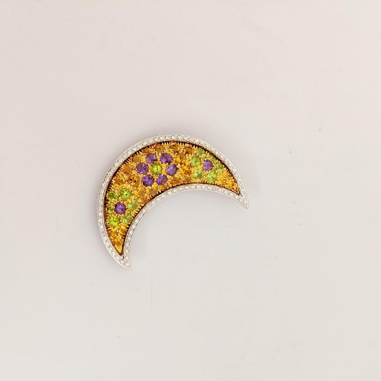 Modern Cellini 18 Karat Gold Moon Pendant/Brooch, Diamonds and Multicolored Gems For Sale
