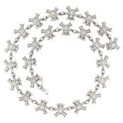 Cellini 18Kt WG, 6.75Ct. Diamond & 1.32Ct. Ruby Teddy Bear Necklace