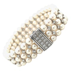 Cellini 18kt White Gold 2.90ct Diamond & 3 Row Cultured Pearl Bracelet