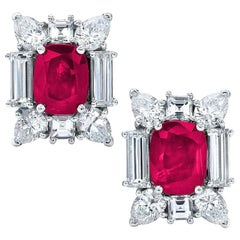 Cellini 18KT White Gold 5.54 Carat Burmese Ruby and 5.14 Carat Diamond Earrings