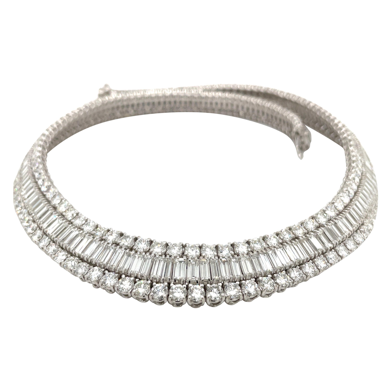 Cellini 18KT White Gold 59.78. Baguette & Round Diamond Collar Necklace
