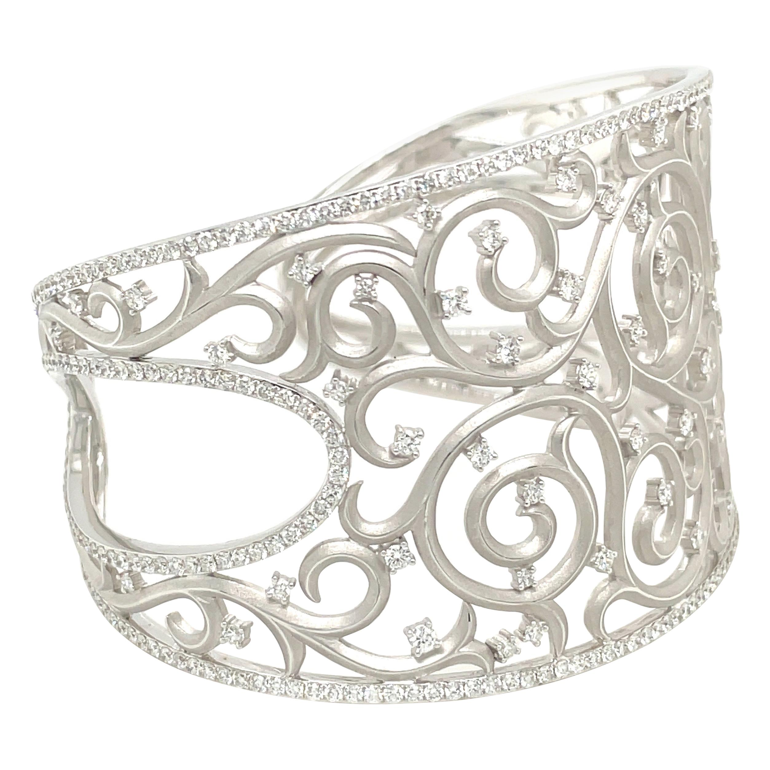 Cellini 18kt White Gold and Diamond 4.90Ct. Lace Cuff Bracelet