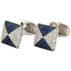 Cellini 18kt White Gold Diamond 0.80ct & Blue Sapphire 1.00ct Cuff Links