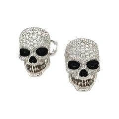 Cellini 18KT White Gold Diamond 2.50CT. Skull Head Cuff Links