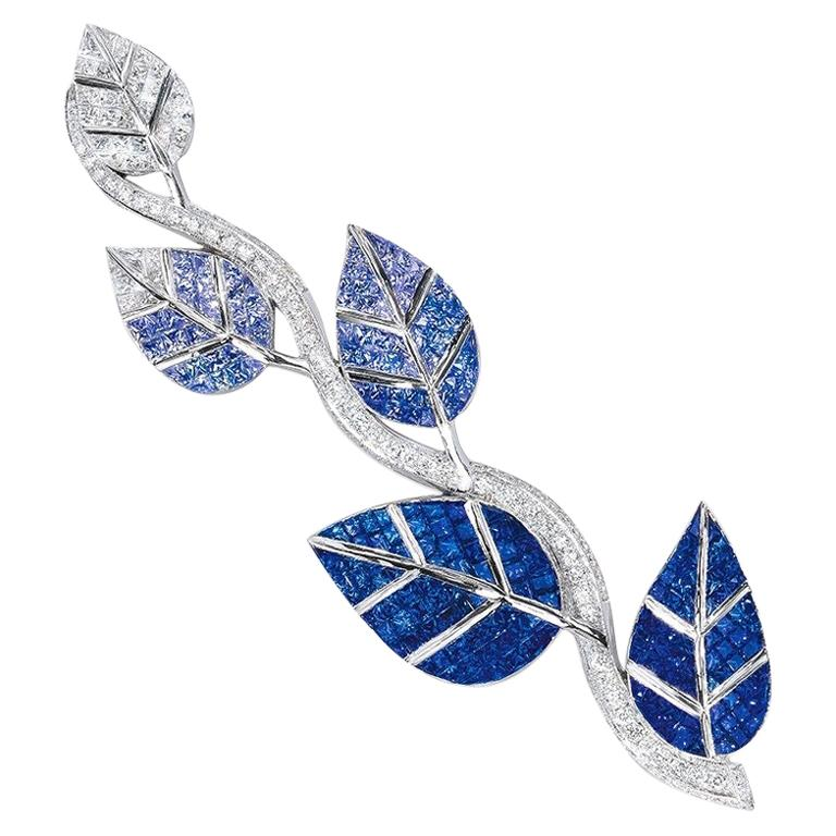 Cellini 18 Karat Gold Diamonds and Invisibly Set Ombre Blue Sapphire Leaf Brooch For Sale