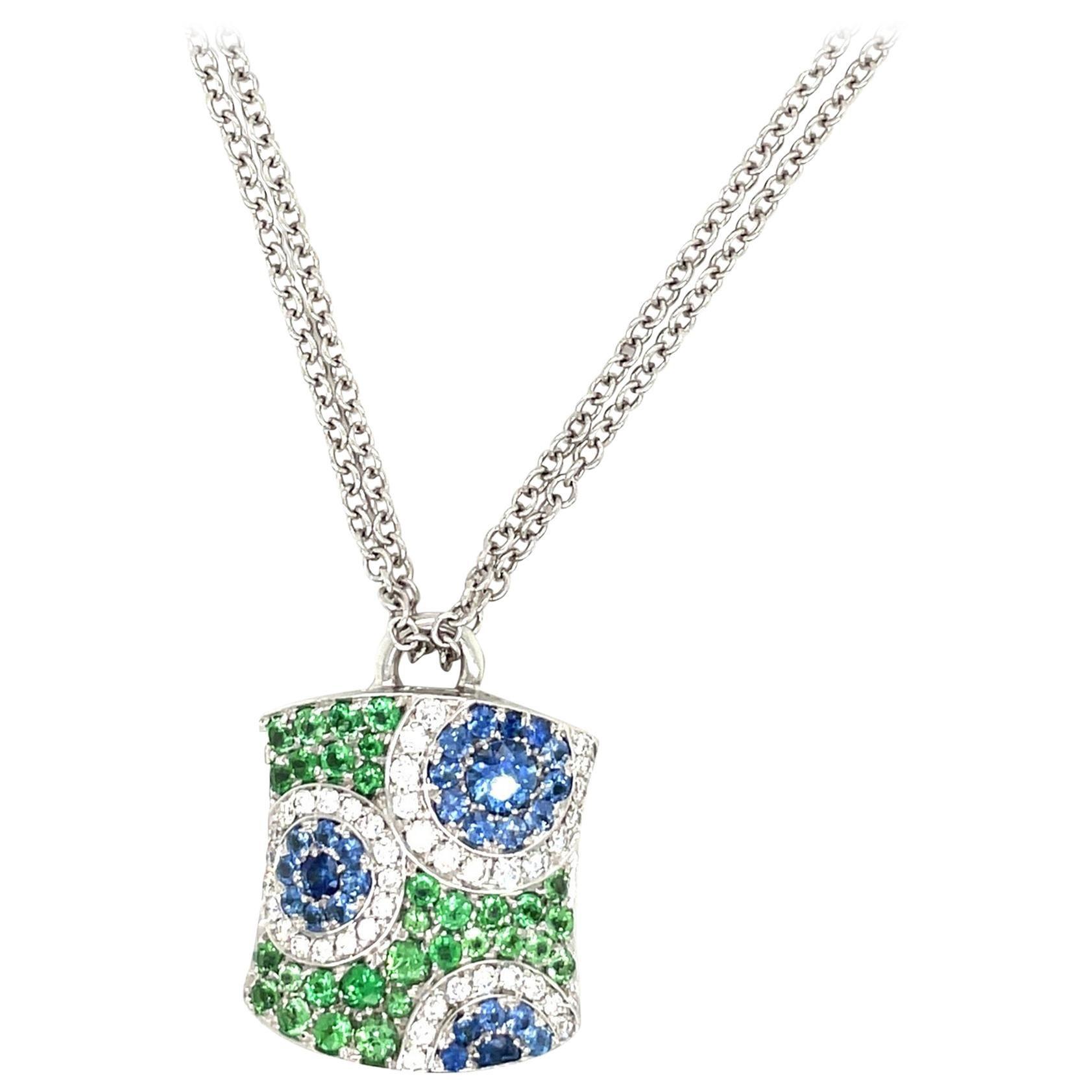 "Cellini 18kt White Gold ""Kaleidoscope"" Pendant Diamond, Blue Sapphire & Diamonds"