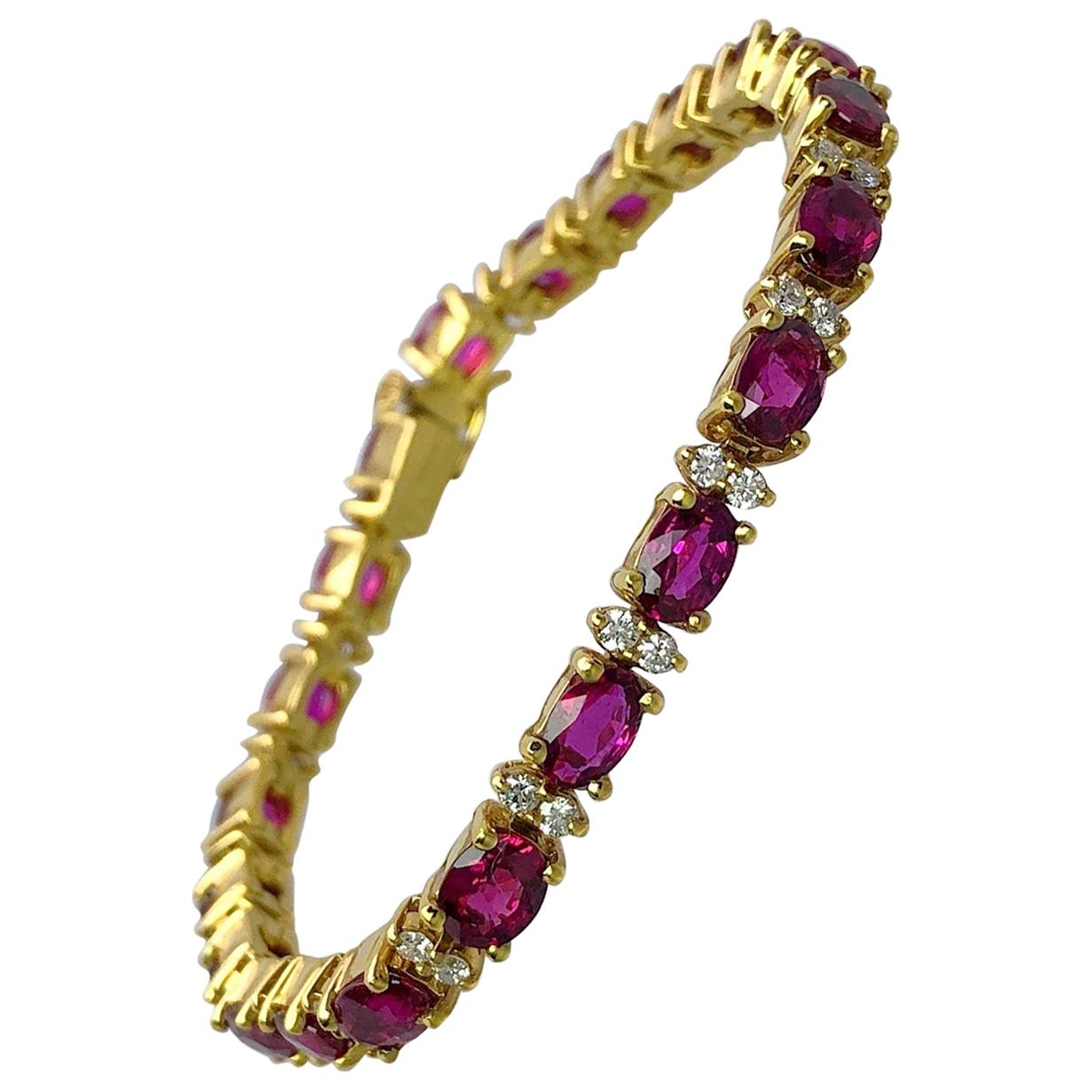Cellini 18KT Yellow Gold, 11.36 Carat Oval Ruby and 1.10 Carat Diamond Bracelet