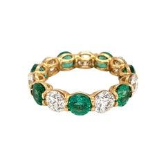 Cellini 18kt Yellow Gold 3.08ct Emerald 2.74ct Diamond Uternity Band