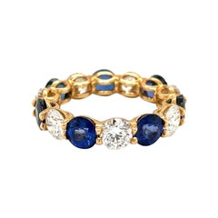 Cellini 18kt Yellow Gold 4.67ct Sapphire & 3.15ct Diamond Uternity Band Ring