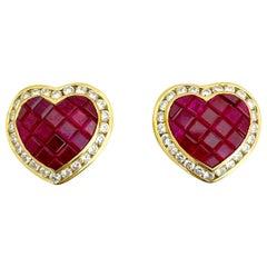 Cellini 18 Karat Gold 5.20 Carat Ruby and 1.30 Carat Diamond Heart Earrings
