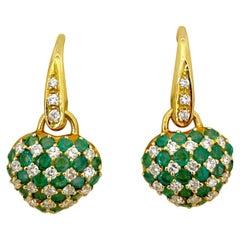 Cellini 18KT Gold Hanging Heart Earring 2.00 Carat Emerald & .74 Carat Diamonds