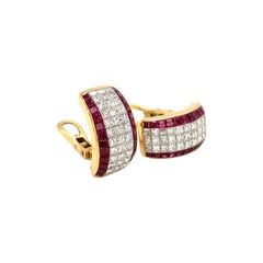 Cellini 18kt Yellow Gold Invisibly Set 6.85ct. Ruby & 3.69ct. Diamond Earrings