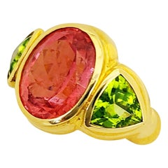 Cellini 18KT Yellow Gold Ring with 8.05 Carat Rubellite and 3.46 Carat Peridot