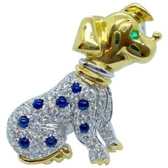 Cellini 18KT Yellow & White Gold Dalmatian Brooch with Diamonds & Blue Sapphires