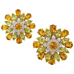 Cellini 18KT YG, 12.60Ct. Citrine, 4.6Ct. Peridot and .43 Carat Diamond Earrings