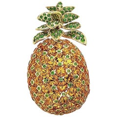 Cellini 18KT YG Pineapple Brooch with 21.75 Carat Orange Garnets and Tsavorites