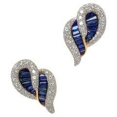 Cellini 18KT YG/WG Baguette 6.75 Carat Blue Sapphire & Diamond Paisley Earrings