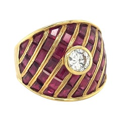 Cellini 6.27ct Baguette & Calibre Ruby Ring with Bezel Set Diamond
