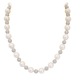 Cellini Alternating Cultured Pearl and 10.00 Carat Diamond Ball Necklace