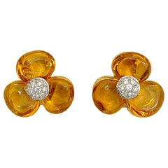 Cellini Cabochon Citrine Flower Earring with Diamonds in 18 Karat Yellow Gold