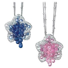 Cellini Exclusive 18 Karat WG Diamond & 8.88 Carat Pink Sapphire Flower Pendant