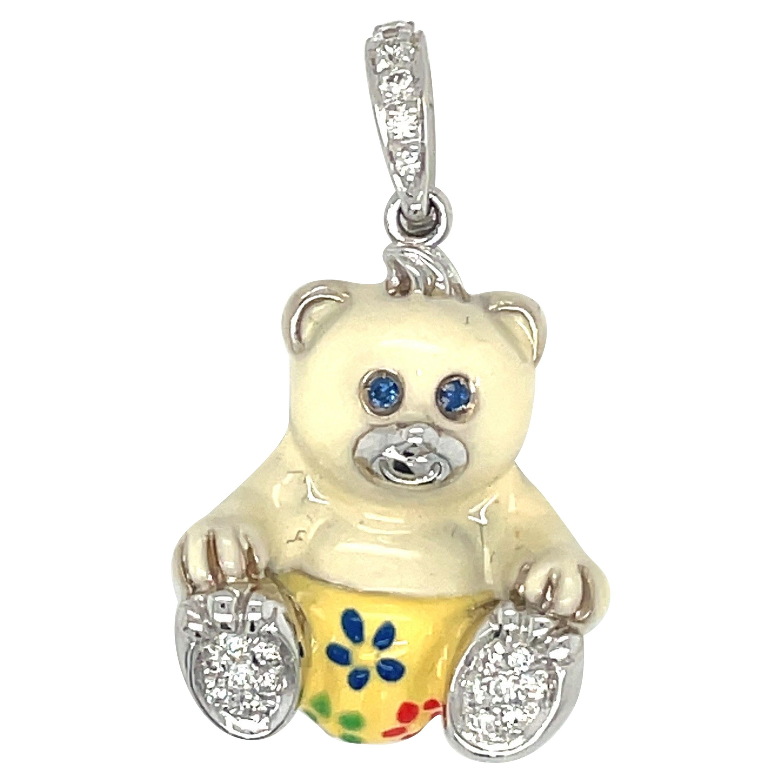 Cellini Exclusive 18KT White Gold Diamond 0.16CT and Enamel Teddy Bear Charm