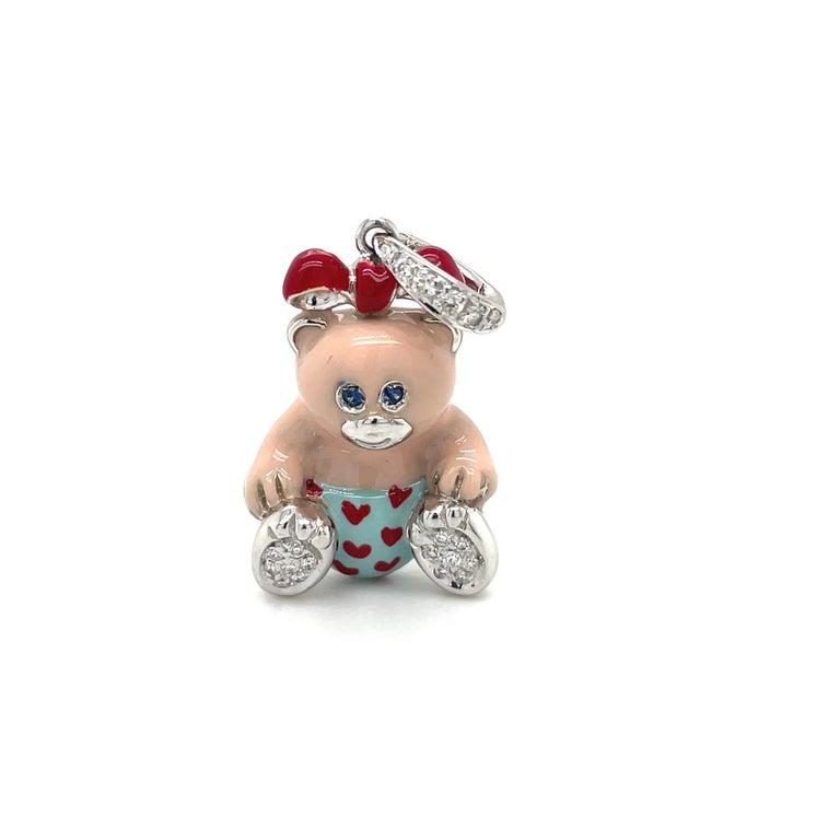 Round Cut Cellini Exclusive 18kt White Gold Diamond .16ct Enamel Teddy Bear Charm For Sale