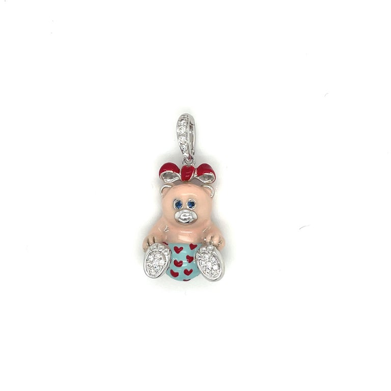 Cellini Exclusive 18kt White Gold Diamond .16ct Enamel Teddy Bear Charm In New Condition For Sale In New York, NY