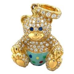 Cellini Exclusive 18KT Yellow Gold 1.07Ct. Diamond Enamel Boy Teddy Bear Charm