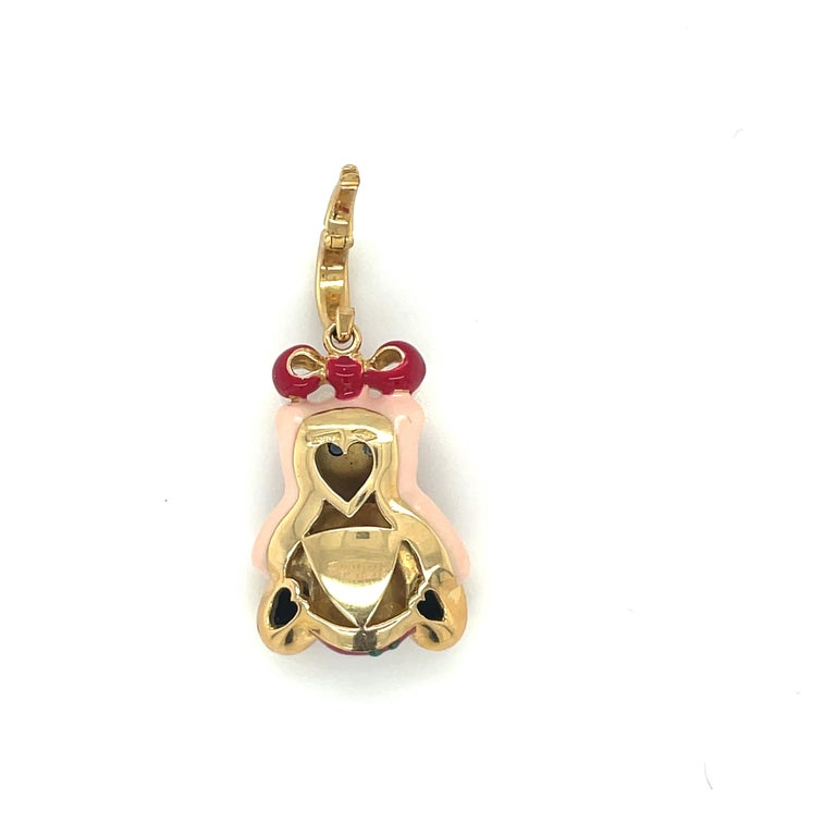 Modern Cellini Exclusive 18KT Yellow Gold and Enamel Teddy Bear Charm For Sale