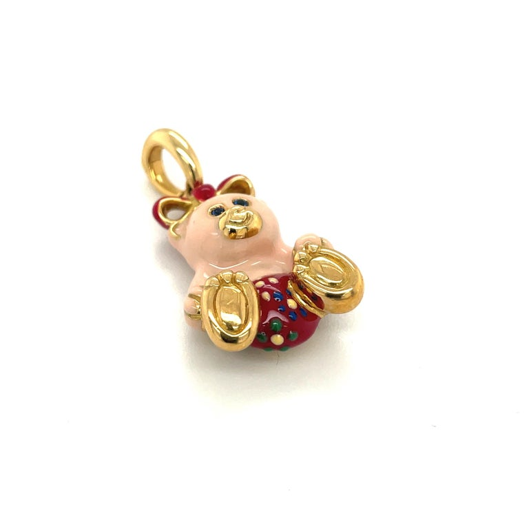 Round Cut Cellini Exclusive 18KT Yellow Gold and Enamel Teddy Bear Charm For Sale