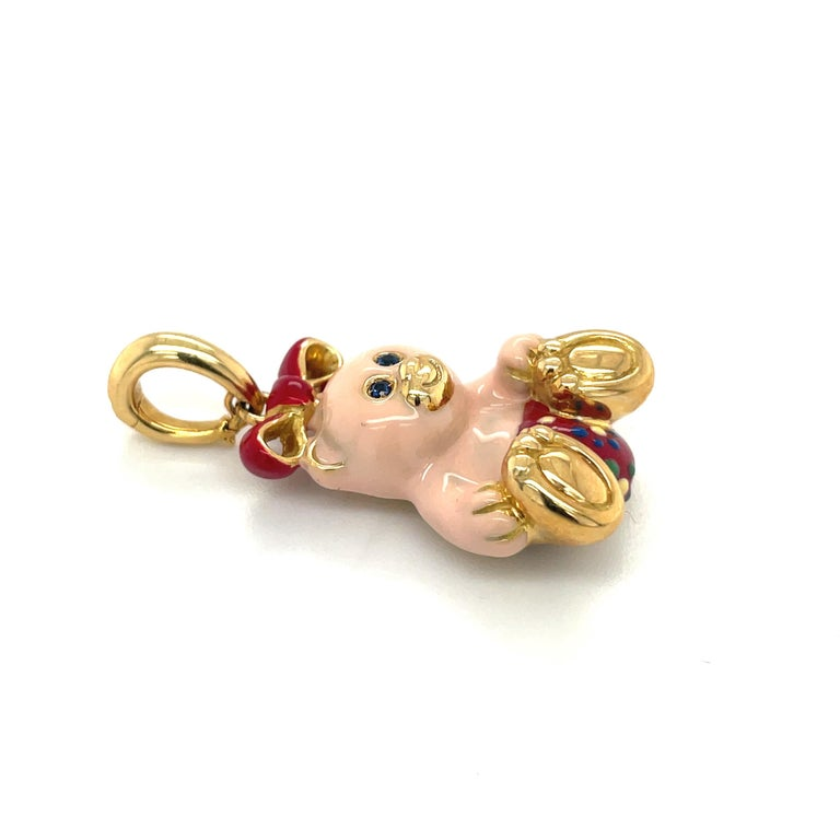 Cellini Exclusive 18KT Yellow Gold and Enamel Teddy Bear Charm In New Condition For Sale In New York, NY