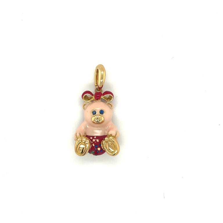 Women's or Men's Cellini Exclusive 18KT Yellow Gold and Enamel Teddy Bear Charm For Sale
