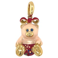 Cellini Exclusive 18KT Yellow Gold and Enamel Teddy Bear Charm
