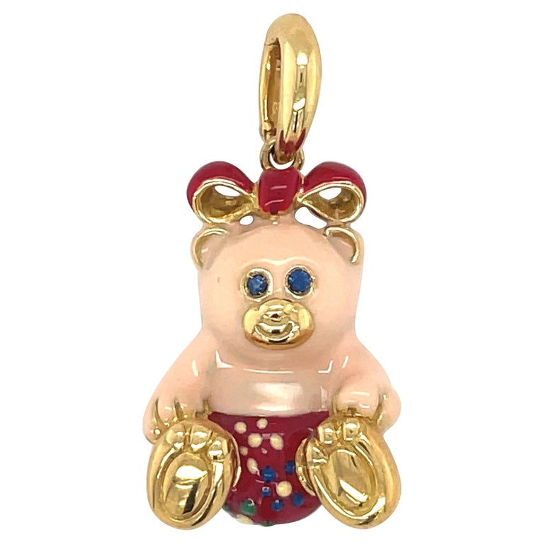 Cellini Exclusive 18KT Yellow Gold and Enamel Teddy Bear Charm For Sale