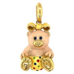 Cellini Exclusive 18KT Yellow Gold Enamel Girl Teddy Bear Charm