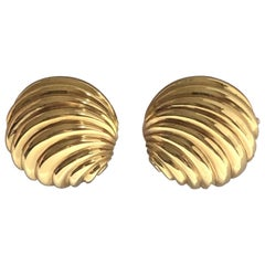 Cellini Italy Elegant Yellow Gold Shell Form Earrings