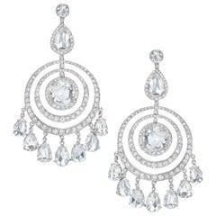 Cellini Jeweler Plat. 13.03Ct. Round Rose Cut Diamond Chandelier Drop Earrings