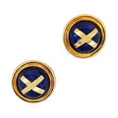 "Cellini Jewelers 18 Karat Gold Earrings with Blue Enamel and Yellow Gold ""X"""