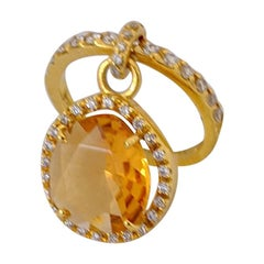 Cellini Jewelers 18 Karat Gold Ring with Diamonds and .90ct Pear Shaped Citrine