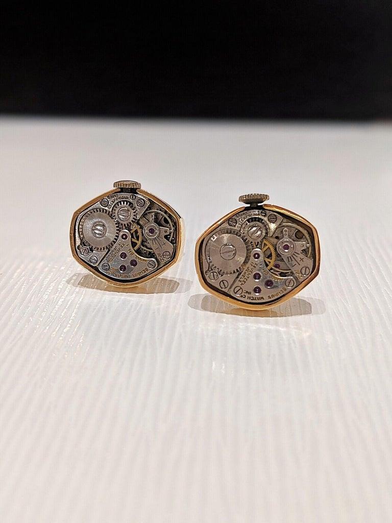 Modern Cellini Jewelers 18 Karat Rose Gold Watch Movement Cufflinks For Sale