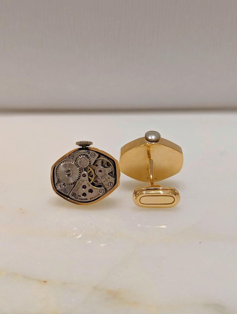 Cellini Jewelers 18 Karat Rose Gold Watch Movement Cufflinks In New Condition For Sale In New York, NY